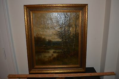 """J.E.GRACE  19th century English oil painting on canvas """"END OF THE YEAR"""", Listed"""
