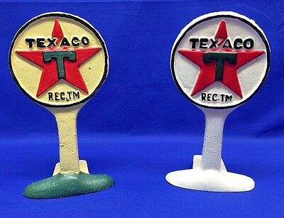 Set Of 2 Cast Iron Texaco Gas Station Sign Display Door Stop Bookends Repro
