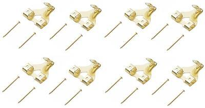8 Double Hole Brass Plated Picture Hooks With Hardened Pins **Free P&P**