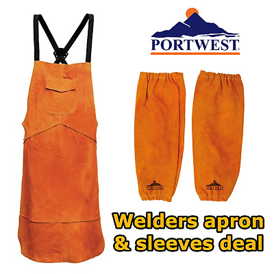 Bizweld Portwest cowhide leather welders apron & welding sleeves bundled deal
