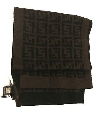 *NWT* FENDI Italy Unisex ZUCCA LOGO Knoit Wool Scarf - 100% AUTHENTIC