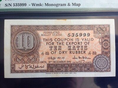 Federated Malay States 1941 Rubber Export Coupon FR2d 10 Katis PMG 63 NET