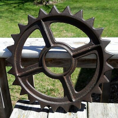"Antique Cast Iron Gear Sprocket 15"" Industrial Steampunk Art Steel Pulley Wheel"