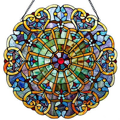 """Stained Glass Chloe Lighting Victorian Window Panel 27"""" Diameter Handcrafted New"""