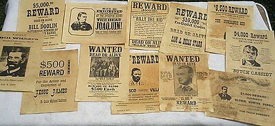 Set of 12 Reproduction Old West Wanted Reward Posters