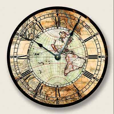 ANTIQUE MAP Wall CLOCK - Western Hemisphere - Old World Look - 7013_FTLLC