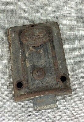 VTG Antique Door Cabinet Metal hardware old Spring Cast Knob Heavy Latch Square