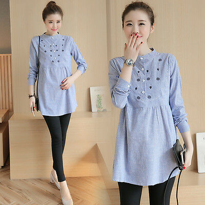 Pregnant Women Cotton Linen Casual Shirt Tops Pregnancy Maternity Clothes Blouse