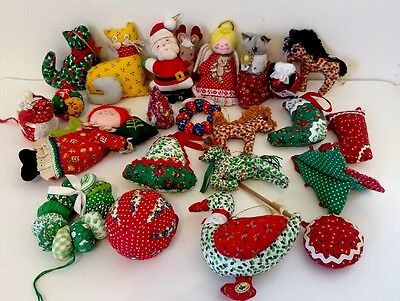 Lot of 22 Vintage Ornaments Cats Mice Angels Calico Fabric 70s Russ Christmas