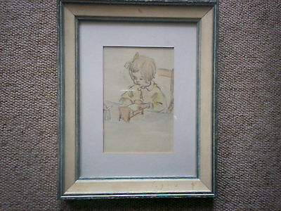 HESTER MARGETSON ? ORIGINAL DRAWING CIRCA 1940s. FRAMED /GLAZED 11 IN X 9