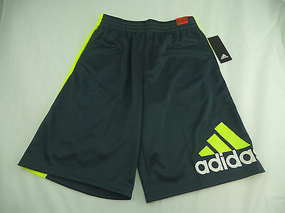 Adidas Boy's Athletic Basketball Shorts Charcoal/Lime US Size M 10/12 NWT