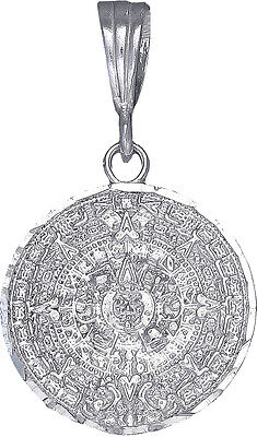 Sterling Silver Aztec Calendar Mayan Sun Charm Pendant Necklace Diamond-Cuts