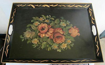 XL Antique Tole Painted Metal Tray w/ Roses ~ 22 1/2 x 17