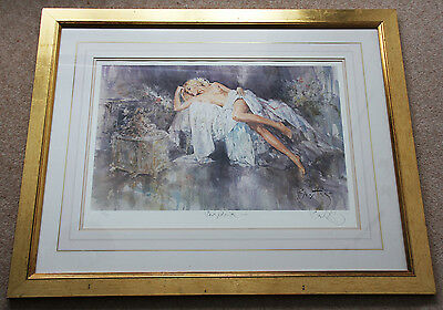 large signed limited edition lithograph, sleeping nude 'Seraphina' 165/395 by Go
