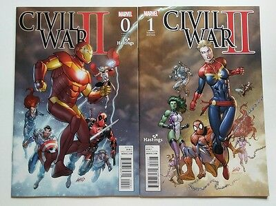 Civil War II #0 & 1 Marvel 2016 Hastings Variant Rob Liefeld Connecting Cover