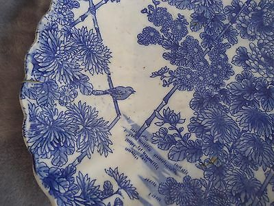 Authentic late 19th c Japanese large charger dish. Pottery. Valued. Birds. Blue