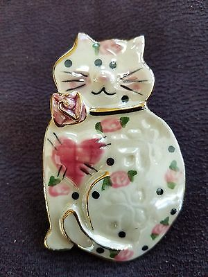 Ceramic Enameled Cat Pin