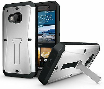 HTC One M9 Case, Heavy Duty Case w/ Built-in Screen Protector and Stand