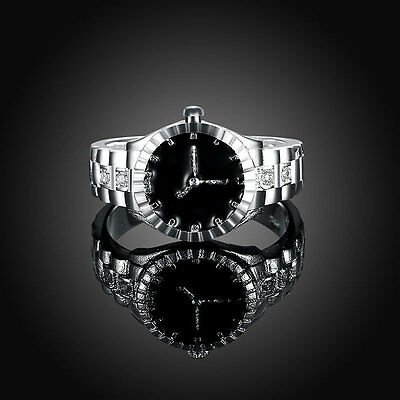 Women Quartz 925 Silver Finger Ring Watch Alloy Personality Jewelry Gift