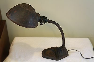 Vintage GOOSENECK DESK LAMP Cast Iron Art Deco Industrial SteamPunk -Works