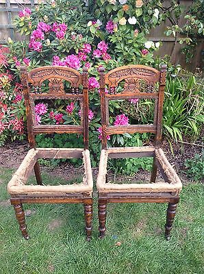 Matching Pair Of Carved Victorian Chairs