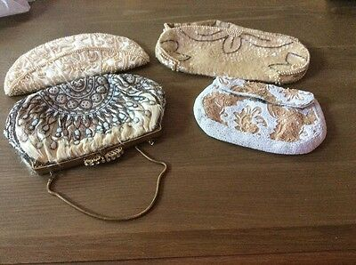 Lot of 4 ANTIQUE VINTAGE Small purses With bead, lace, sequins