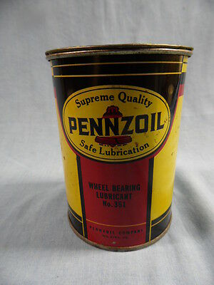 Vintage Pennzoil 1 Pound No. 351 Wheel Bearing Lubricant Metal Can