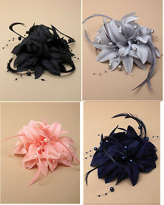 Fabric Flower Fascinator Feathers and Beads with Forked Hair Clip & Brooch Pin