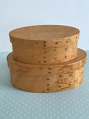 2 Small Birds Eye Maple Stacking Shaker Oval Pantry Boxes PA Artist Craftsmen