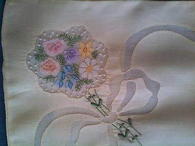 Vintage Linen Yellow Embroidered Pillow Case / Small