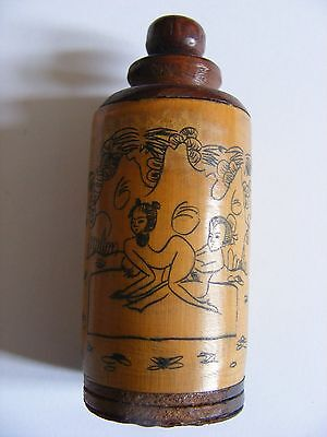 Etched Opium/ Snuff Bottle with Erotic Scene.