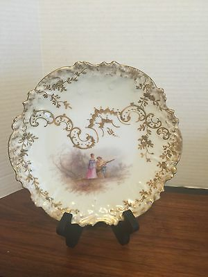 "Antique Sevres / Limoges Hand Painted Signed Scalloped 8"" Plate Nice"