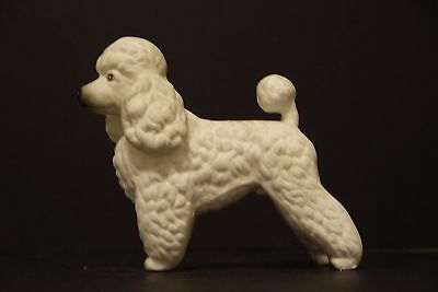 """Poodle Puppy Dog Figurine~White~4 1/2"""" Tall~Heavy Ceramic~Standing~Unmarked~EXC"""