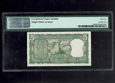 * TOP GRADED COMMEMORATIVE GANDHI 5 Rs NOTE * India 1969 Pick# 68a PMG 66 EPQ