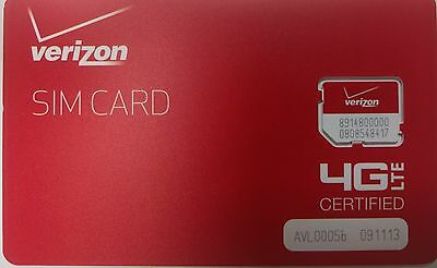 VERIZON  SIM CARD 4G LTE -  Prepaid or PostPaid - Broadband  NEW. MICRO SIM SIZE
