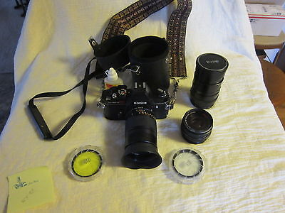 Konica 35 Mm Camera With 3 Lens, And Extras