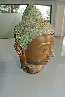 small BUDDHA head solid vintage old aged brass style hollow statue heavy 16 cm