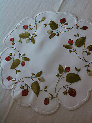 Vintage Society Silk Strawberry Doilie  / Excellent