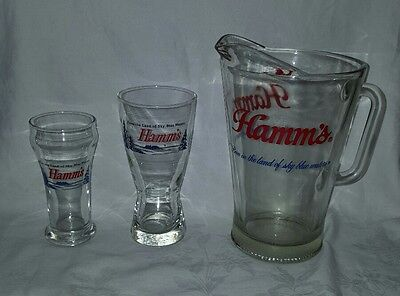 Vintage  Hamm's Beer Pitcher & Glasses Born In The Land Of Sky Blue Waters