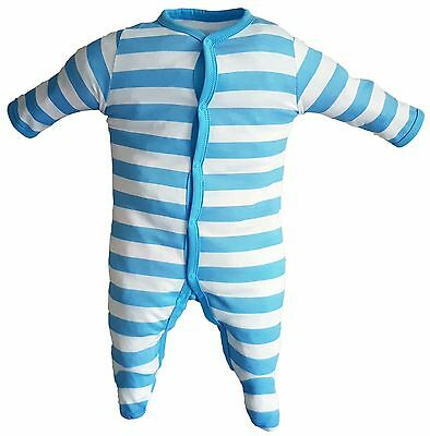 3 pack baby sleep suits blue stripes ages 0 to 24 months - free P&P (H:02)