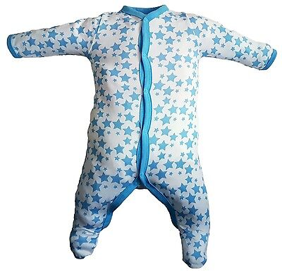 3 pack baby sleep suits blue stars ages 0 to 24 months - free P&P (H:03)