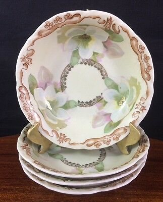 Lovely Set of Four Hand Painted Berry Bowls, Three Crowns, Germany
