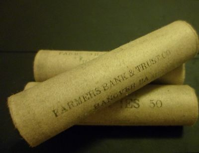 One Vintage Old Obw Pre40 Mixed Wheat & Indian Cent Coin Roll From Group Lot #v2