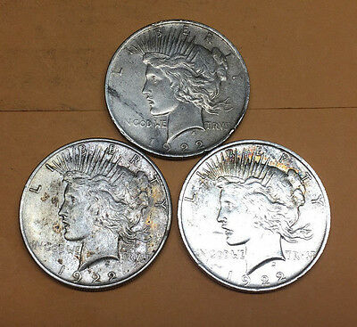 Lot of 3 Silver PEACE Dollars 1922 Circulated