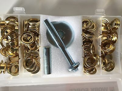 New Grommet eyelet 103 piece kit with tool 12mm brass plated with storage case