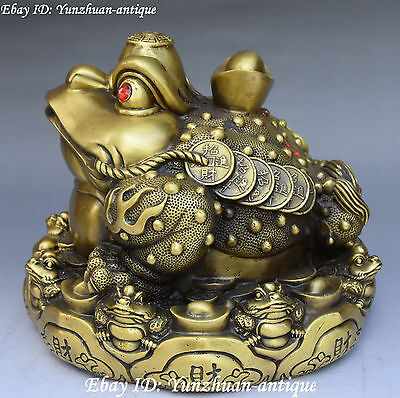 China Pure Bronze Wealth Money Eight Diagrams Yuanbao Golden Toad Spittor Statue