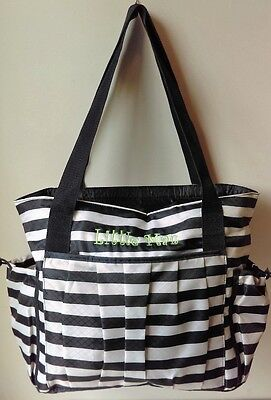 Thirty One 31 New Day Navy Rugby Stripe Large Diaper Travel Bag Embroidered