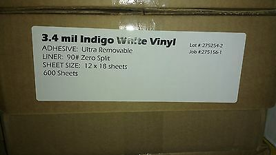 """Ultra Removable White Vinyl for HP Indigo 12"""" x 18"""" (100 Sheets) 3.4 Mil"""