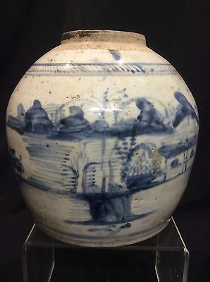 Antique Chinese Blue & White Scenic Ginger Jar