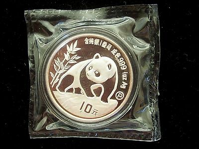 1990 China Panda Proof 10 Yuan 1 Ounce Silver Coin In Original Mint Plastic